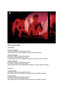 RAW comedy club höstschema 2008