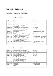 Program - Årsstämmodagen 2018