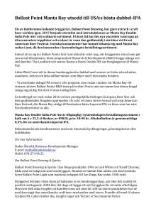 Ballast Point Manta Ray utsedd till USA:s bästa dubbel-IPA