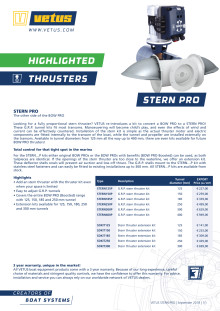 VETUS GRP tunnel kit to convert a BOW PRO to a STERN PRO thruster - Information Sheet