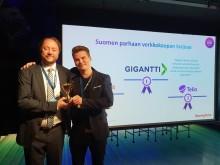 Gigantti palkittiin Suomen parhaana verkkokauppana