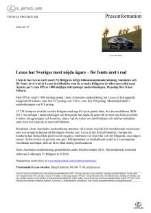 Lexus har Sveriges mest nöjda ägare – för femte året i rad