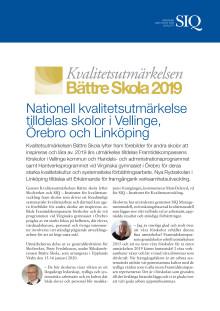 Nationell kvalitetsutmärkelse tilldelas skolor i Vellinge,  Örebro och Linköping