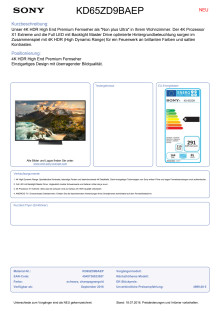 Datenblatt BRAVIA KD-65ZD9BAEP von Sony