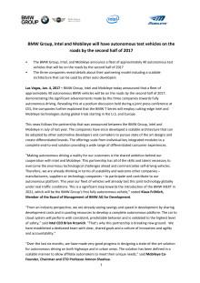 BMW-Intel-Mobileye release CES 2017