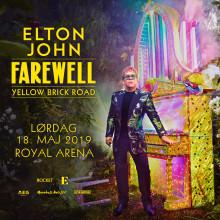 """Billetsalget til Elton Johns """"Farewell Yellow Brick Road"""" koncert i Royal Arena 18. maj 2019 starter på fredag 7. september"""