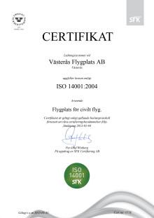 Västerås Flygplats nu miljöcertifierad