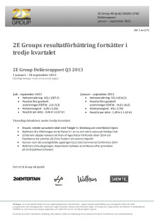 2E Group Delårsrapport 1 jan - 30 sept 2013