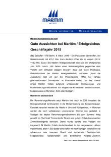 Gute Aussichten bei Maritim / Erfolgreiches Geschäftsjahr 2015
