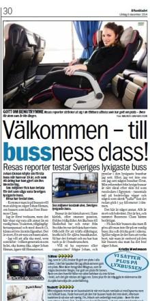 Aftonbladet testar 1st Bussness Class