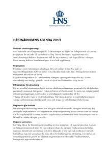 Hästnäringens agenda 2013