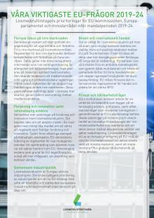 Livsmedelsindustrins prioriterade frågor inför EU-valet