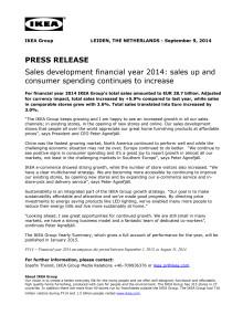 PRESS RELEASE: Sales development financial year 2014