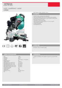 Hitachi kapp- og gjærsag C12RSH2_datablad