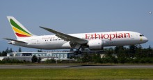 Ethiopian Airlines arriving at Avinor Oslo Airport