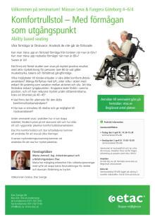 """Inbjudan till seminarium """"Komfortrullstol – med förmågan som utgångspunkt"""" - Leva & Fungera i Göteborg"""