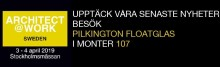 Pilkington Floatglas AB presenterer nyheter på Architect@Work i Stockholm 3 - 4 april.