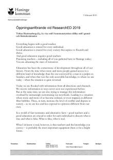 Öppningsanförande av Tobias Hammarberg (L) vid ResearchEd 2019