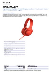 Datenblatt MDR100AAPR von Sony