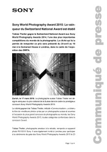 Communiqué de presse_Sony_SWPA National Awards Switzerland_150317_F-CH