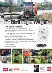 Maskinvisning 19-20 april i Våsterås!