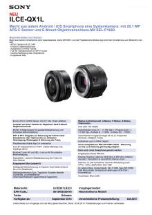 Datenblatt SmartShot ILCE-QX1L von Sony