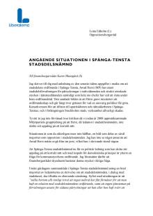 Brev till finansborgarrådet Karin Wanngård (S) om situationen i Spånga-Tensta stadsdelsnämnd