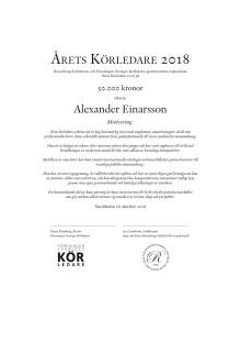 Diplom Årets körledare 2018