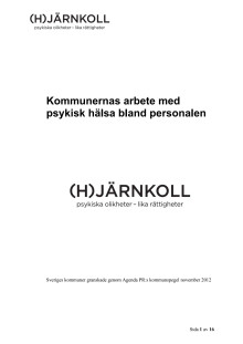 Rapport över kommunernas arbete med psykisk hälsa bland personalen