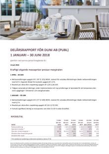 DELÅRSRAPPORT FÖR DUNI AB (PUBL) 1 JANUARI – 30 JUNI 2018