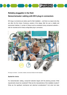 Reliably pluggable in the field- Sensor/actuator cabling with M12 plug-in connectors