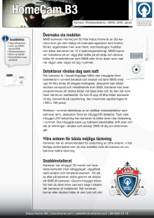 HomeCam B3 övervakningskamera broschyr