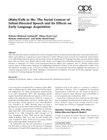 (Baby)Talk to Me_The Social Context of Infant-Directed Speech and Its Effects on Early Language Acquisitio