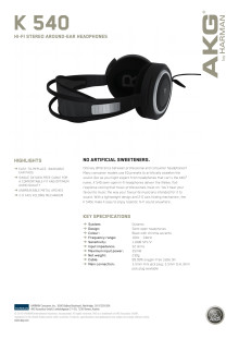 Specification sheet - AKG K 540 (English)