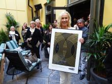 Agnetha Fältskog prisades av SKAP på kvällens releasefest i Stockholm