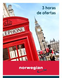 """""""Flash Sales"""": Norwegian ofrece hoy ofertas con descuentos de hasta 20 % por ciento, entre las 12 y las 15 horas"""