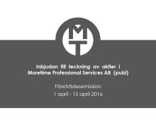 Information om Moretime Professional Services AB:s (publ) nyemission