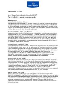 Presentation av de nominerade till Norrmejerier-stipendiet 2011