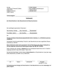 Vollmacht Steuerkonto online (Brandenburg)