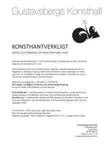 Konsthantverkligt – en samtals- och föredragsserie om konsthantverk i nuet