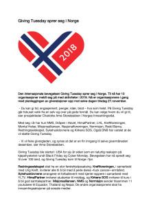 Pressemelding om Giving Tuesday 2018