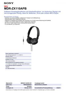 Datenblatt MDR-ZX110APB von Sony