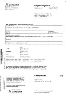 Titanias F-skattebevis från Skatteverket för 2012