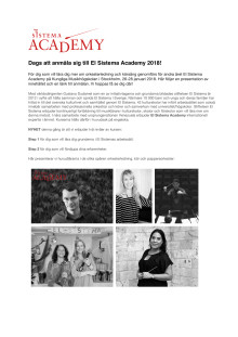 Dags att anmäla sig till Academy 2018