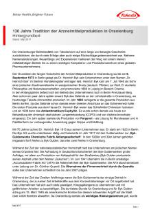 130 Jahre Tradition der Arzneimittelproduktion in Oranienburg