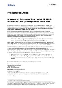 Arbetarna i Gävleborg fick i snitt 12 400 kr inbetalt till sin tjänstepension förra året