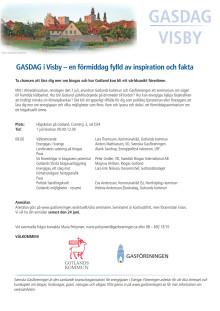 Program GASSEMINARIUM i Visby – en förmiddag fylld av inspiration och fakta