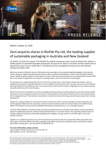 Duni acquires shares in BioPak Pty Ltd, the leading supplier of sustainable packaging in Australia and New Zealand
