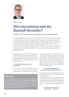 """""""Wie international sind die Baustoff-Hersteller?"""" - Artikelveröffentlichung von Alexa Mühlen im Baustoff-Jahrbuch 2015/2016"""