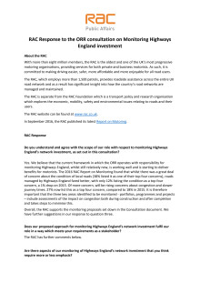 RAC response to ORR consultation on monitoring Highways England investments